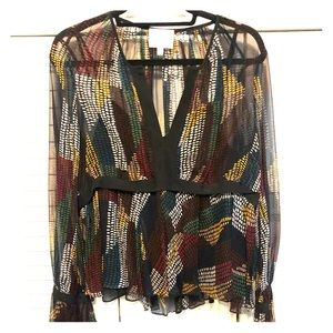 Sheer blouse with vibrant Fall colors